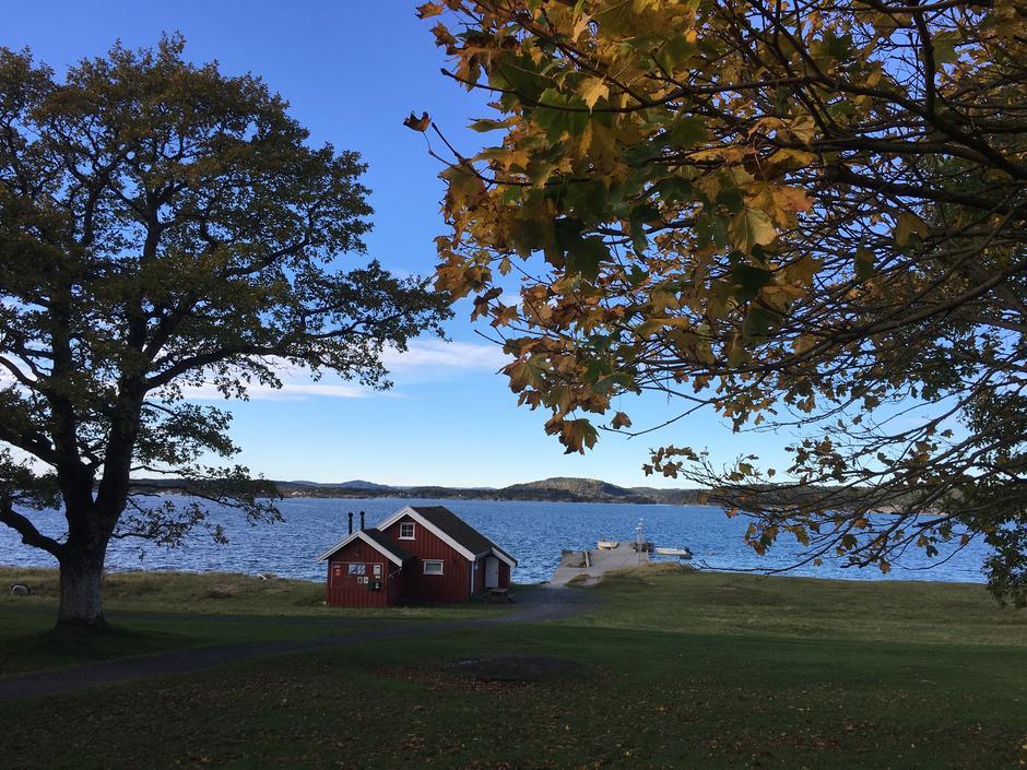 Utsikt til Sjøbua fra Hovedhuset