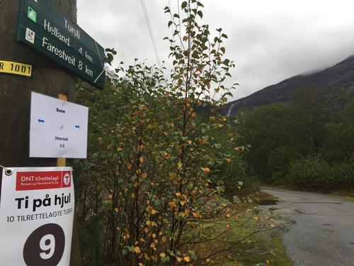 Start turen ved skiltet mot Helland