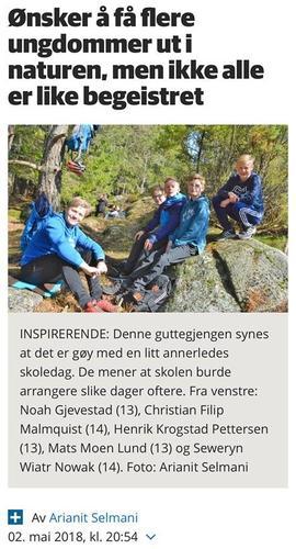 Opptur med Hedrum ungdomsskole, artikkel med bilder i ØP (+)