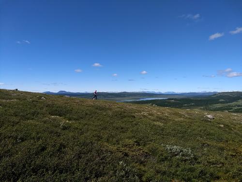 Fjelløping i Langsua med Jotunheimen i bakgrunnen.