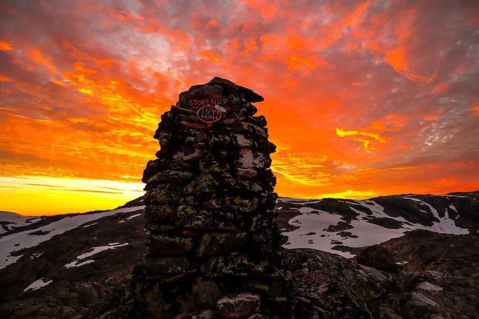 Solnedgang fra Store Nup. En flott og krevende tur fra Haukeliseter.