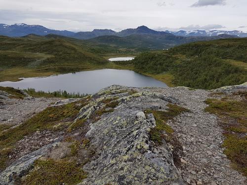 Ned fra Melbyfjellet mot Tutjern. Bitihorn i bakgrunn.