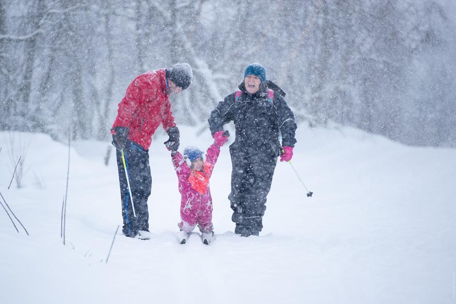 Gøy med ski for hele familien. Kom deg ut dagen, vinter 2019, Skaret