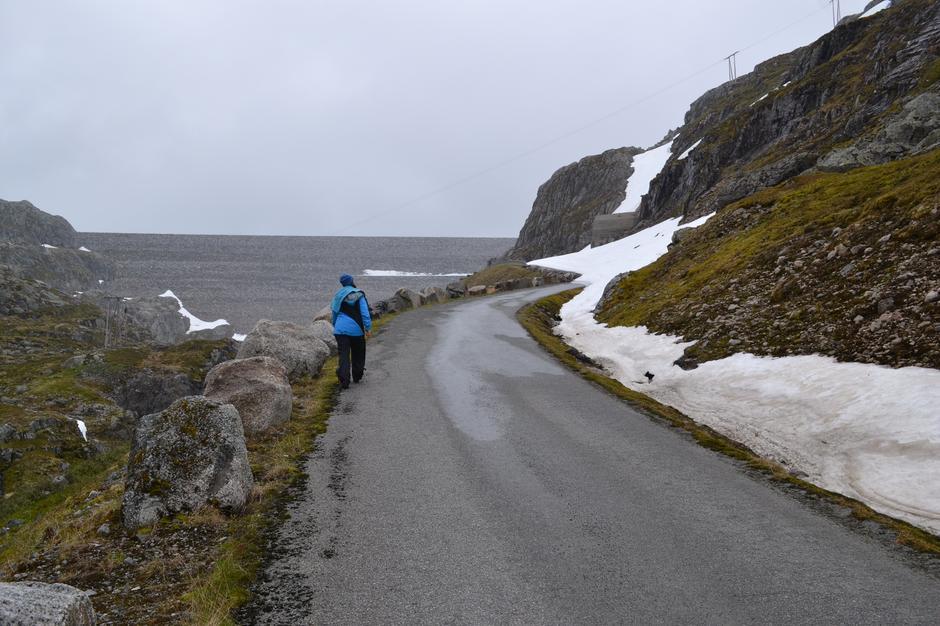 Snøfonn før Oddatjørndammen 20. juni 2014