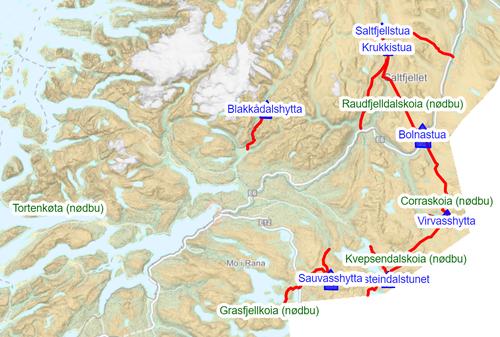 Turlagets merkede stier og hytter. Kilde: Norgeskart