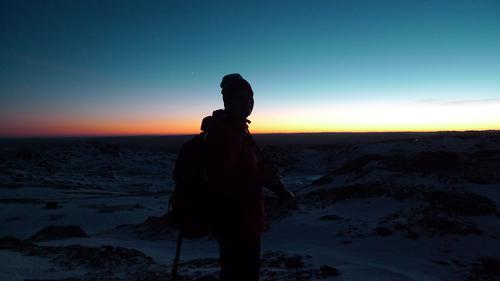 Øysteinnatten (1174 moh), Lifjell. 14. desember 2016. Måneskinnstur på brodder. Motiv: Live S. Vestgarden.