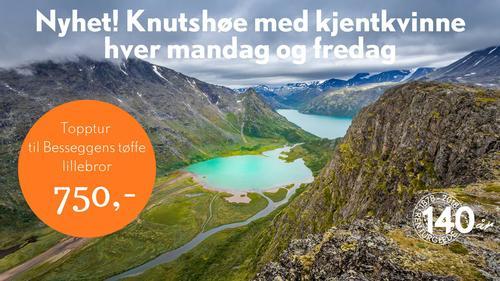 Topptur med kjentkvinne til Knutshøe - Besseggens tøffe lillebror
