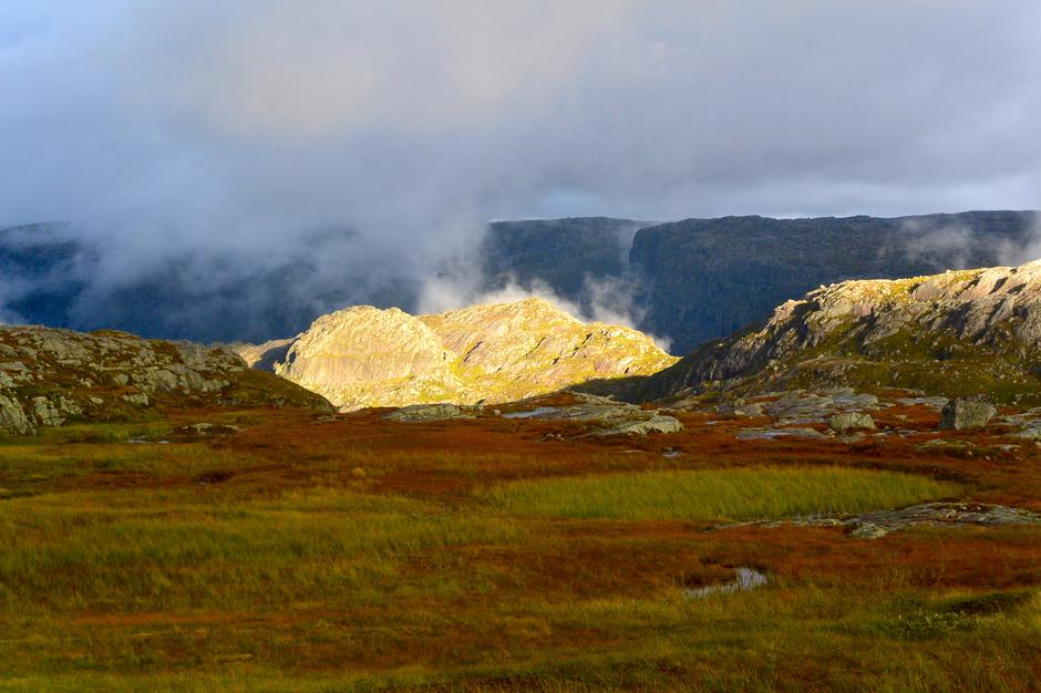 Høsten er tid for magisk lys og sterke farger. Fra ruta til Mælands Grønahei.