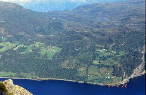 Utsikt frå Nesheimshorgi mot Haugsgardane og Haugseåsen