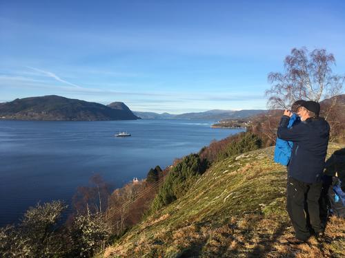 Utsikt frå Leitet utover Ombofjorden. Her er det fantastiske solnedgangar og kveldshimlar