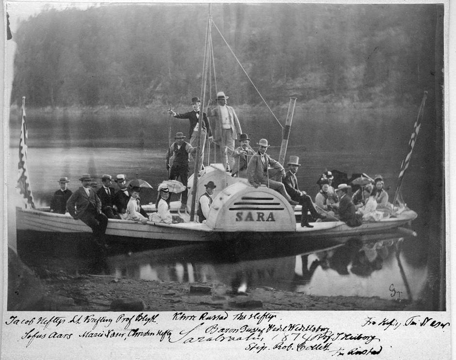 """Sara"" var ein av Heftye sine tre båtar på Nøklevann i Østmarka."