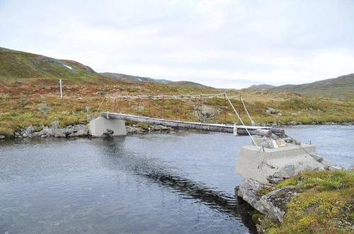 Brua i Stordalen på stien Mjølfjell - Grindaflethytta.