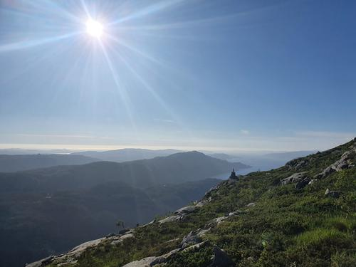 Utsikt mot Austefjorden og Strandafjellet m.m.