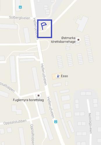 Parkering på utfartsparkering i krysset ved Hellerudveien og Solbergliveien. Nært Solbergli busstasjon.