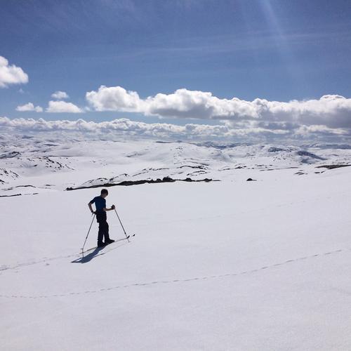"""Skorvane, Stordalen, vest i Stølsheimen en nydelig dag i april med fjellet nesten helt for oss selv. Magnus(13 år) : """"Dette er livet"""""""