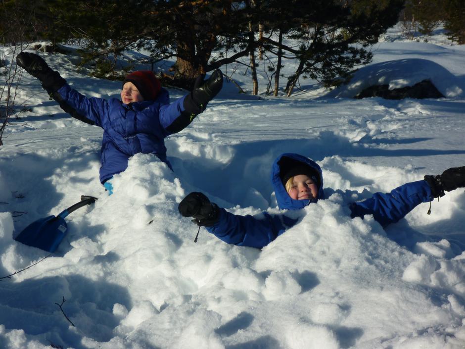 Godt humør og teppe av snø!