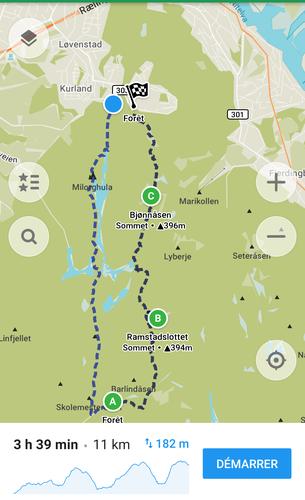 Ruten er trasert med app'en MAPS.ME