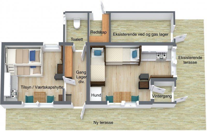 Plan for gammelhytta på Haakonsbu. Dagens hytte er til høyre i bildet. Nydelen er til venstre. Med tilsynsbu frigjøres flere soveplasser på hovedanlegget, og gjestene vil kunne få en bedre opplevelse når tilsyn kan være på hytta over lengre tid.
