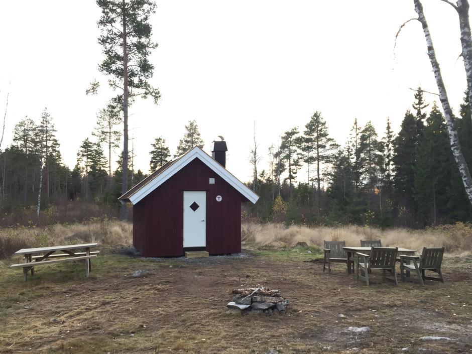 Farmenkoia ligger på et åpent område i skogen - fint for lek og moro.