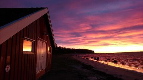 Solnedgang ved Sjøbua