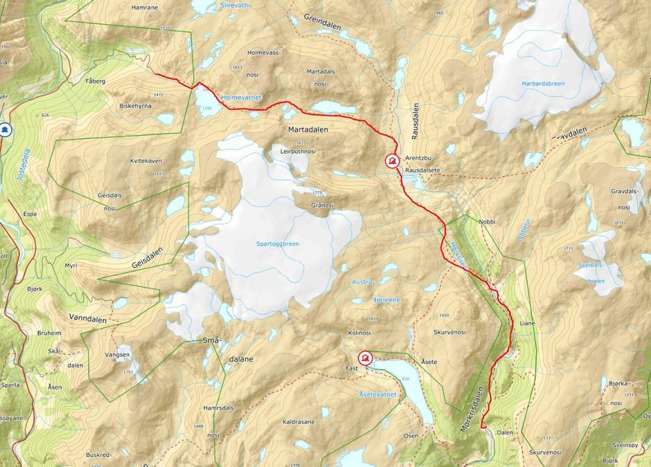 Bildet syner turen. Frå Fåberg i Jostedalen til Mørkridsdalen. Ruta er merka.