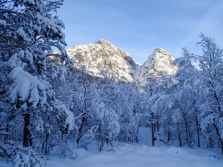 VINTERPRAKT: Småsildalen en fantastisk vinterdag. I bakgrunnen troner Heiahorn og Småsilhorn.