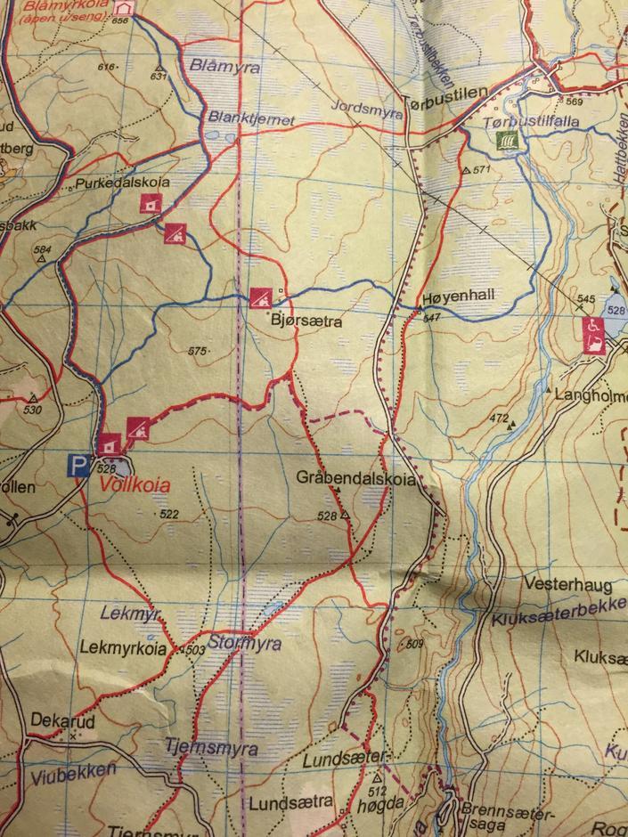 Kart over sykkelstien fra Vollkoia til Høyenhall
