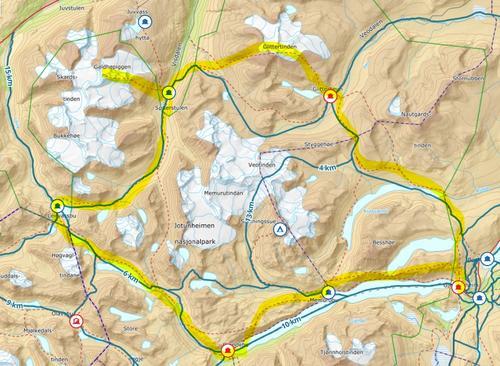 Kart -Jotunheimes høydepunkter