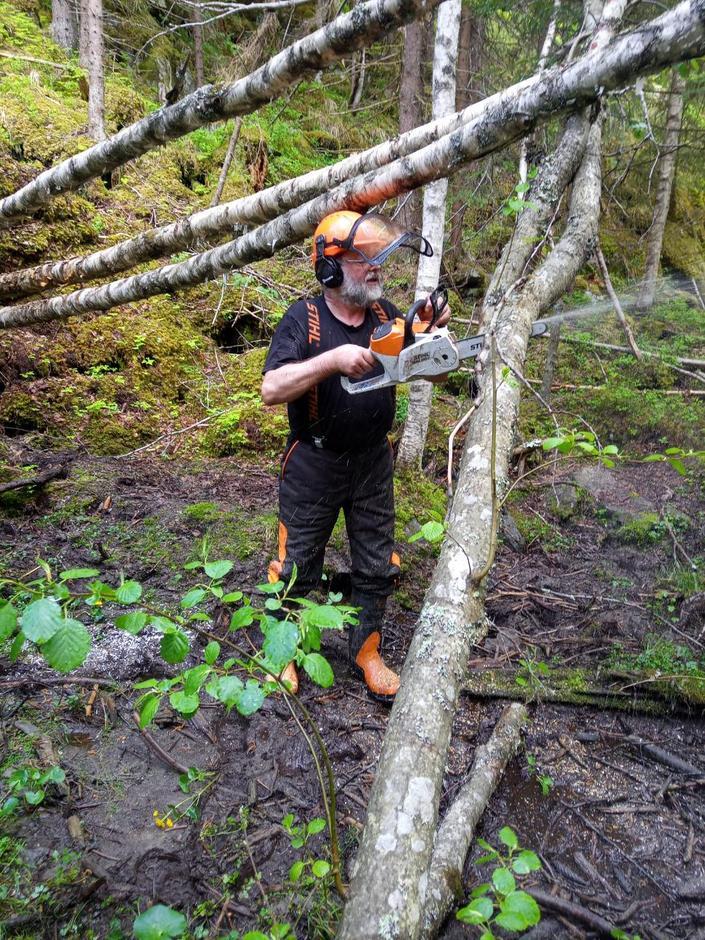 Jens Røkholt fra dugnadsgruppa i DNT Oslo og Omegn rydder Rondanestien slik at det skal bi fint for deg å gå i sommer.