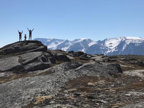 Glade barn med utsikt mot Grytøyfjellene