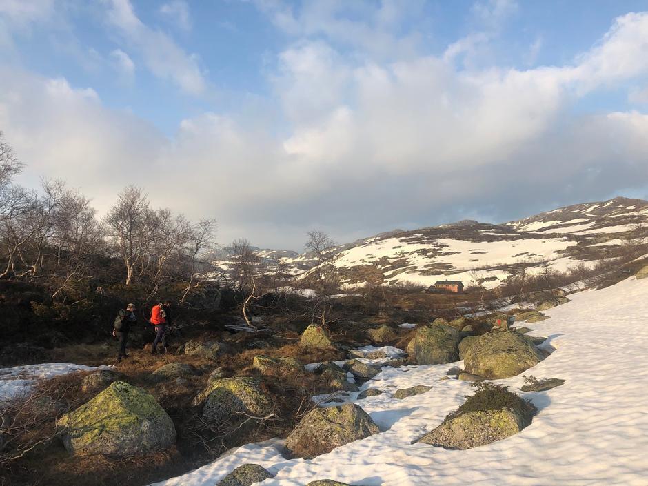 50/50 barmark og snøfenner på sommerstien fra Elsvatnetog inn til Taumevatn.