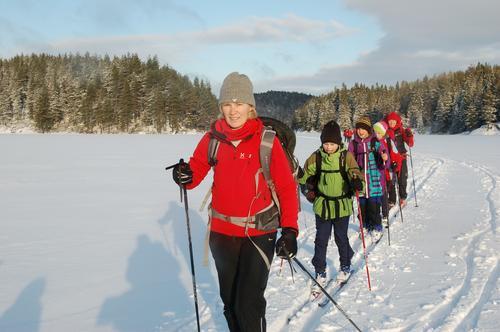 Familietur på ski fra Eiksetra