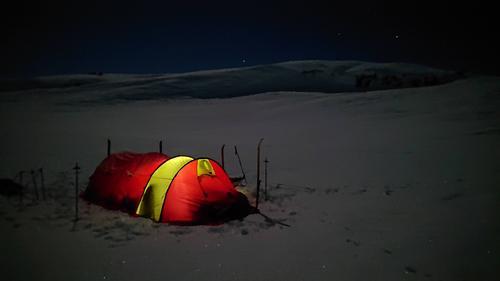 Telting ved Haukeliseter i januar