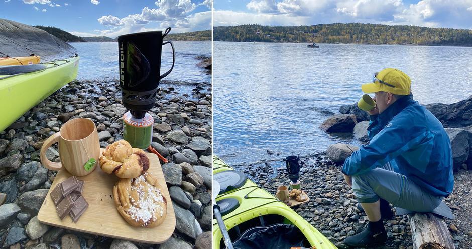 Vi kjøpte med fersk bakst fra Gårdskafeen på Breivoll og tar en vel fortjent kaffepause.