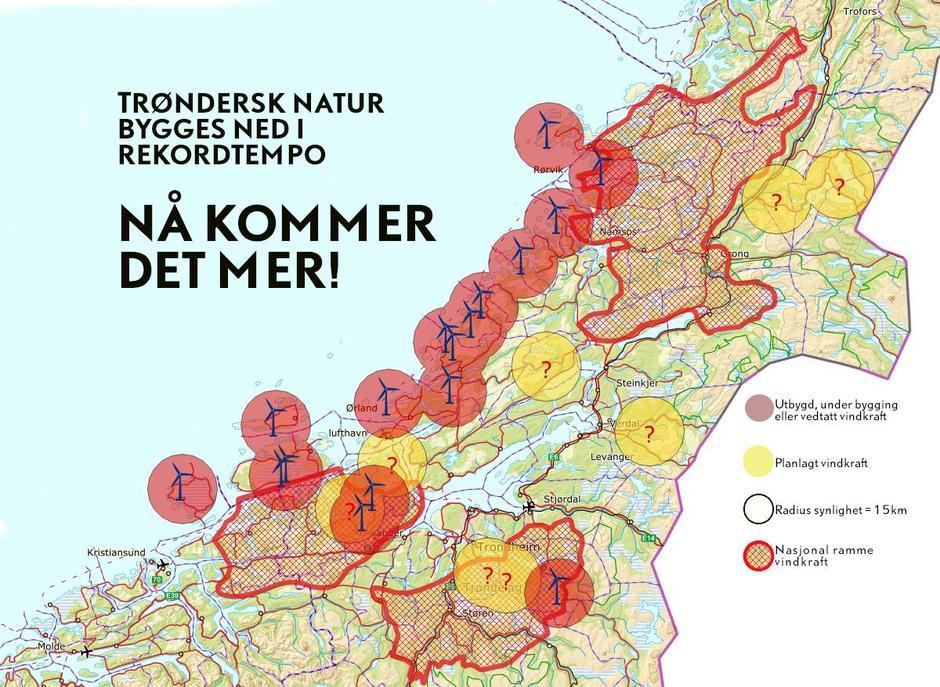 Kartet viser hvilke områder som har fått konsesjon til å bygge ut vindindustri. I tillegg viser kartet hvilke områder som nå foreslås i nasjonal ramme som man mener egner seg godt for vindkraft.