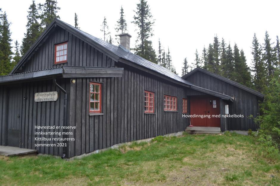 Allmenningshytta Høvrestad - midlertidig innkvartering for DNT mens Kittilbua er stengt sommeren 2021.