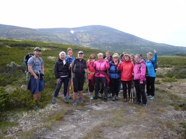 16 personer og Rambo møtte opp for å bli med på tur til Mehøe i Dovrefjell Statsalmenning.
