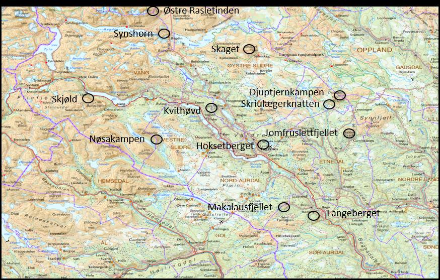 Kart over kremtopper 2019