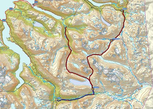 Kartutsnitt Katterat - Hunddalen - Losi - Skamdalen evt Fjellbu