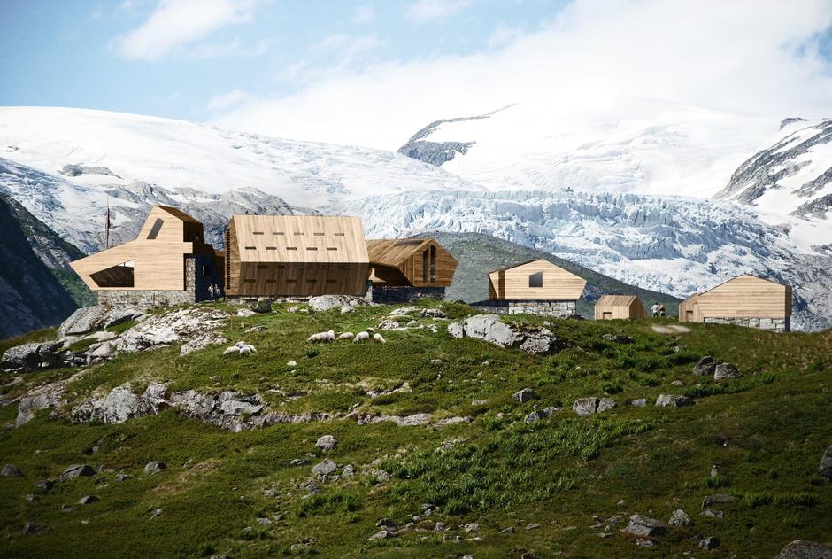 Tegning av Nye Tungestølen, designet av Snøhetta. Planlagt ferdigstilling i 2018.
