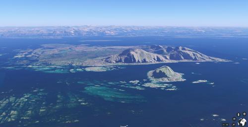 Utsikt over Søla i forgrunnen og Vega i bakgrunnen.