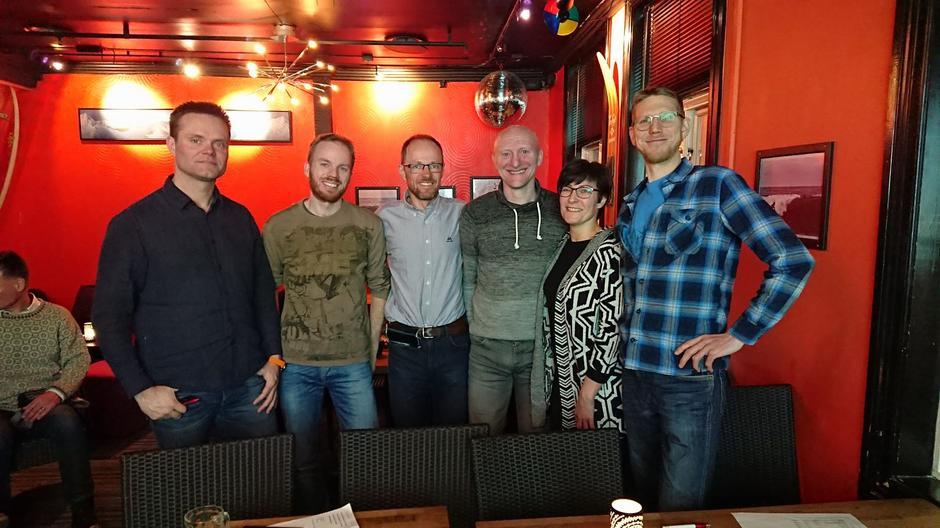 Bildet av Styremedlemmene i Fjellsportgruppa i Troms Turlag 2018. Fra venstre: Christoffer Jespersen, Øystein Thorvaldsen, Harald F. Aas, Jan-Odd Norø, Anne-Jorunn Pedersen og Anders Eide.