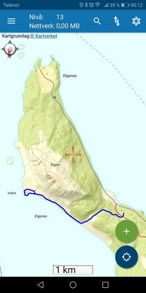 Bildet viser turruta til Indre Elgsnes