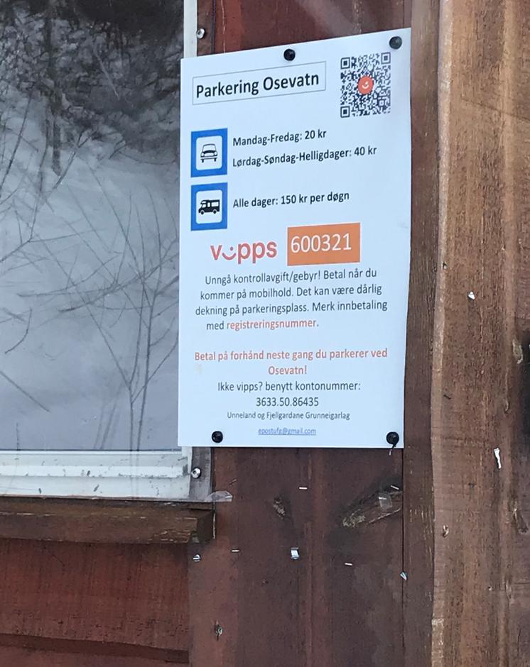 Tirsdag 9.2: husk å vippse for parkering