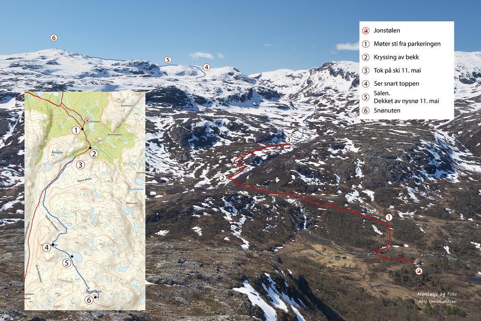 Ruta til Snønuten fra Jonstølen 11. mai