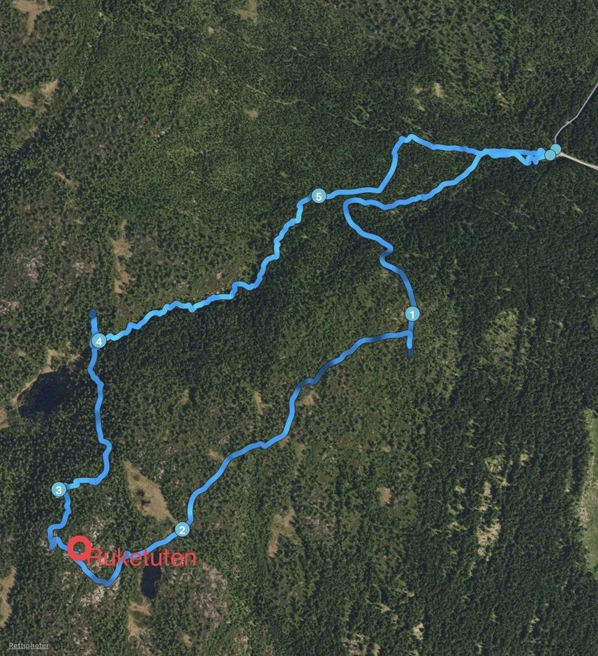 Turen gikk langs blå linje, lastet opp fra Endomondo, i alt 5,8 km