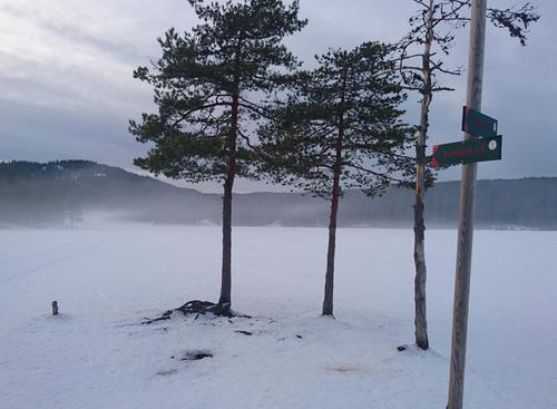 Østernvann i Bærumsmarka tatt søndag 19.2.17. Gikk på bena over isen og det kom tåke over vannet. Magisk!