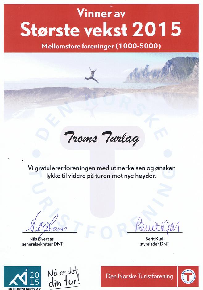 I Friluftslivets År 2015 hadde Troms Turlag størst vekst av de mellomstore foreningene.