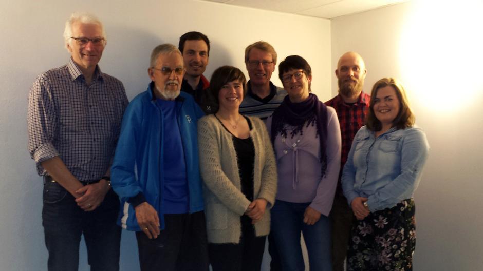 Fra venstre: Erik Lunde, Finn Granum, Daniel Holm, Stina Borgli, Karsten Lien, Karin Solberg, Tom-Erik Bakkely Aasheim og Ive Langesæter
