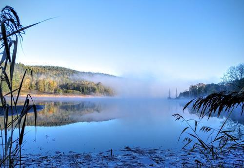 Morgendisen etter årets første nattefrost. Bildet er tatt på Nesoddlandet inderst i Bunnefjorden.